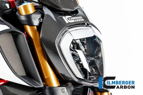 Přední maska-Kryt světla z karbonu lesklý na motocykly DUCATI Diavel 1260 od 2019